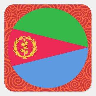 Eritrea round flag square sticker