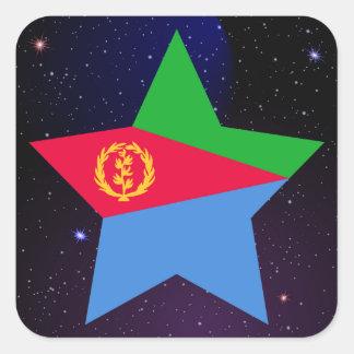 Eritrea Star Design Flag Square Sticker