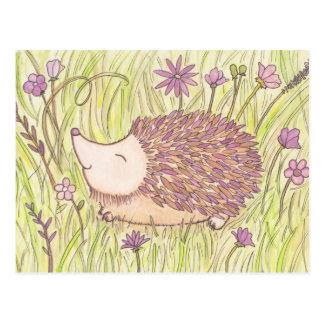Erizo alegre de la primavera tarjeta postal