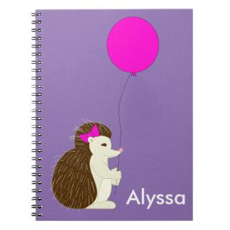 Erizo con el globo rosado notebook