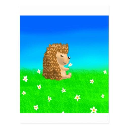 erizo con la flor tarjetas postales
