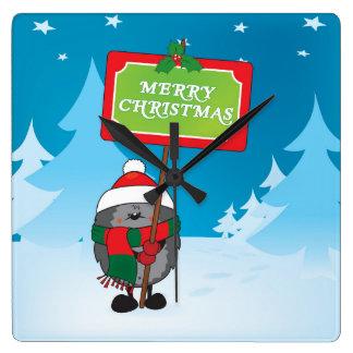 Erizo de las Felices Navidad Reloj Cuadrado