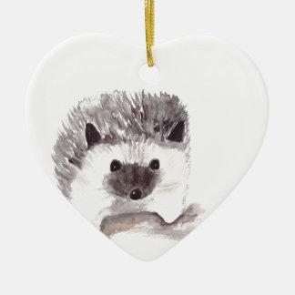 erizo del bebé adorno navideño de cerámica en forma de corazón