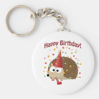 Erizo del feliz cumpleaños del confeti llavero redondo tipo pin