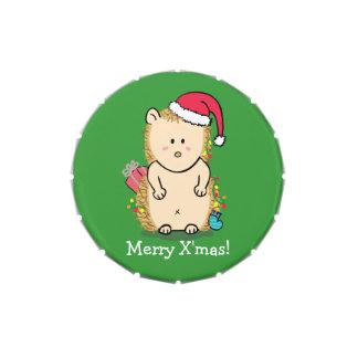 Erizo lindo con el gorra del navidad latas de caramelos