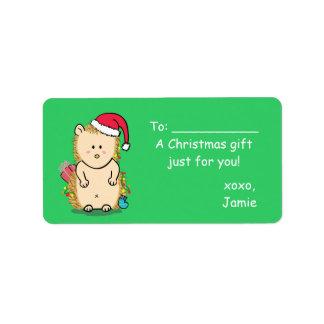 Erizo lindo del navidad para las chucherías y los etiquetas de dirección