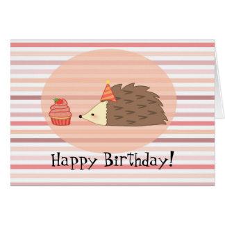 Erizo y magdalena personalizados tarjeta de felicitación