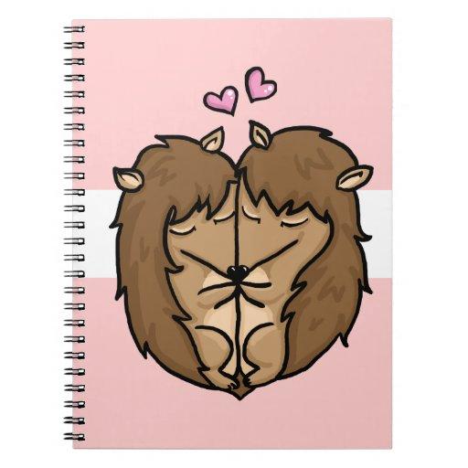 Erizos de abrazo en amor libreta espiral