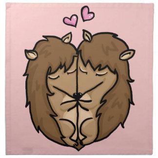 Erizos de abrazo en amor servilleta de papel