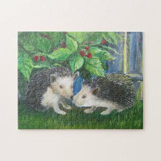 Erizos en pintura al óleo del amor puzzle