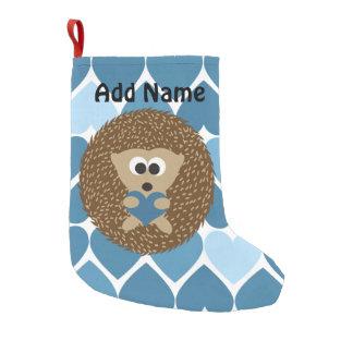 Erizos y corazones azules calcetín navideño pequeño