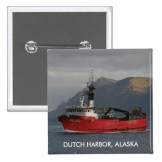Erla N, Crab Boat in Dutch Harbor, Alaska Pinback Buttons