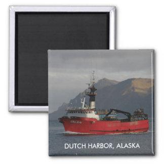 Erla N, Crab Boat in Dutch Harbor, Alaska 2 Inch Square Magnet