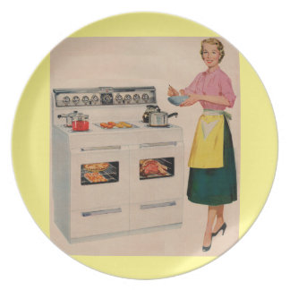 Erma and her double-barreled oven melamine plate