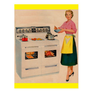 Erma and her double-barreled oven postcard