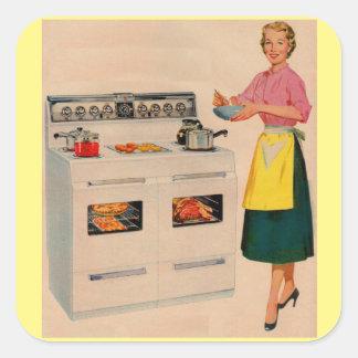 Erma y su horno doble-barreled pegatina cuadrada