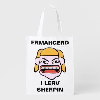 Ermahgerd Sherpin Reusable Grocery Bag