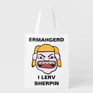 Ermahgerd Sherpin Grocery Bag
