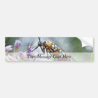 Ermine Moth on Agastache Car Bumper Sticker
