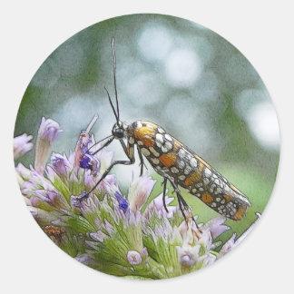 Ermine Moth on Agastache Classic Round Sticker