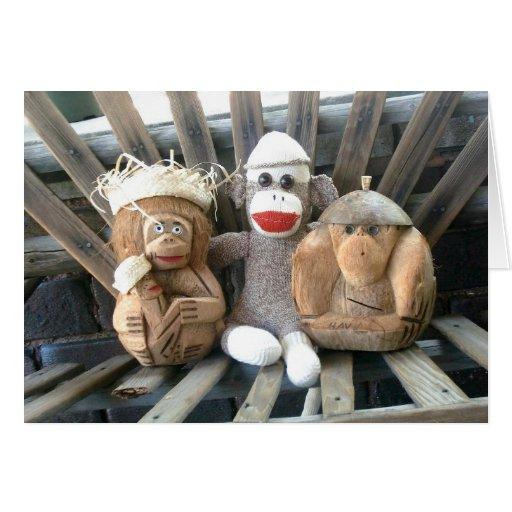 Ernie el mono del calcetín y la tarjeta de nota de