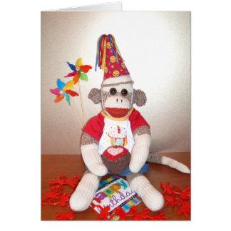Ernie la tarjeta de cumpleaños del mono del calcet