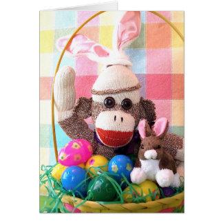 Ernie la tarjeta de la cesta de Pascua del mono de