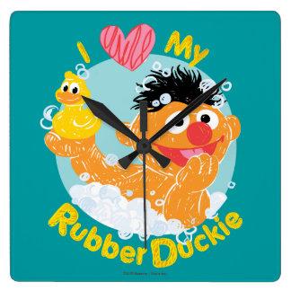 Ernie Loves Duckie Square Wallclock
