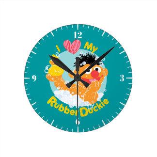 Ernie Loves Duckie Round Wall Clock