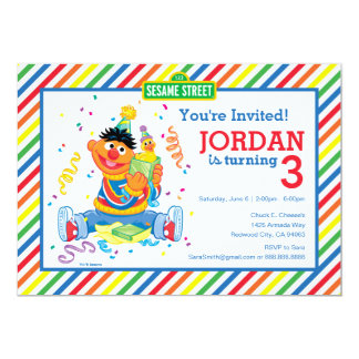 """Ernie rayó cumpleaños invitación 5"""" x 7"""""""