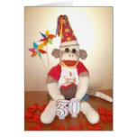 Ernie tarjeta de cumpleaños del mono del calcetín