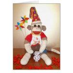 Ernie the Sock Monkey 3rd Birthday Card