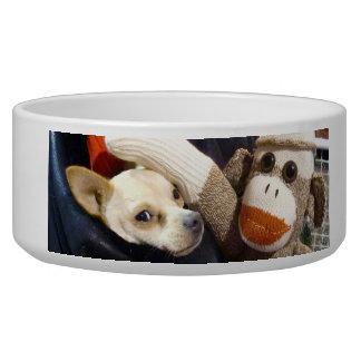 Ernie the Sock Monkey and Chihuahua Dog Bowl