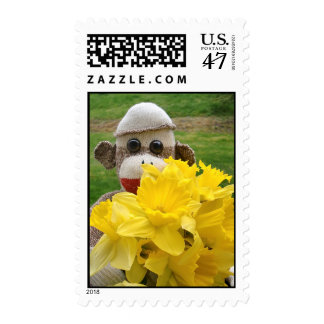 Ernie the Sock Monkey and Daffodils Postage Stamp