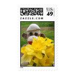 Ernie the Sock Monkey and Daffodils Postage Stamp