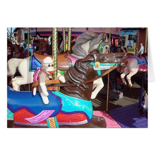 Ernie the Sock Monkey Carousel Horse Note Card