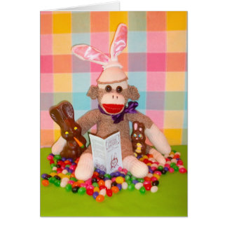 Ernie the Sock Monkey Choco Bunnies Easter Card