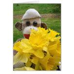 Ernie the Sock Monkey Daffodils Card