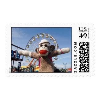 Ernie the Sock Monkey Ferris Wheel Postage Stamp