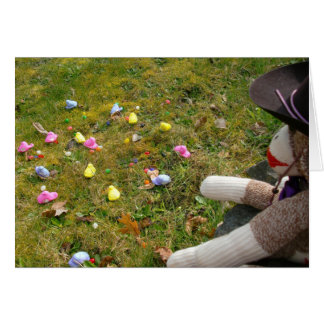 Ernie the Sock Monkey Free Range Peeps Easter Card