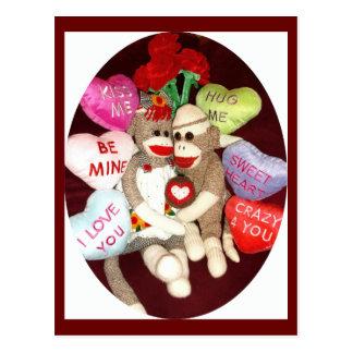 Ernie the Sock Monkey Hearts Valentine Postcard