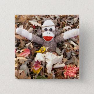 Ernie the Sock Monkey Leaf Pile Pin