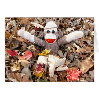 Ernie the Sock Monkey Pile of Leaves Note Card