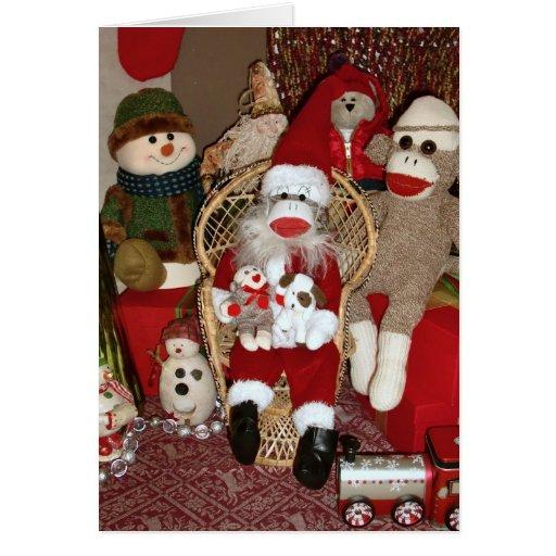 ernie the sock monkey santa card zazzle