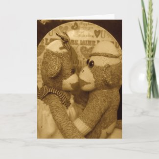 Ernie the Sock Monkey Sepia Valentine's Day Card