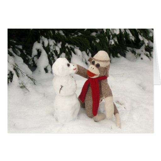 Ernie the Sock Monkey Snowman Holiday Card | Zazzle