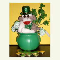 Ernie the Sock Monkey St. Patrick's Day Postcard