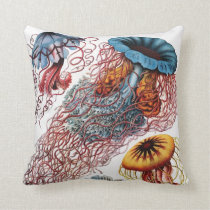 Ernst Haeckel Jellyfish Throw Pillow