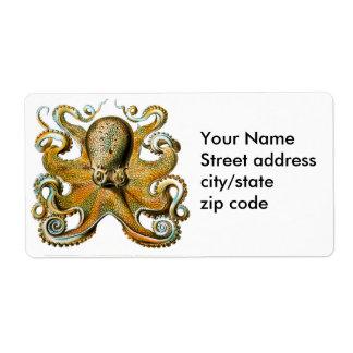 ernst haeckel octopus custom shipping label