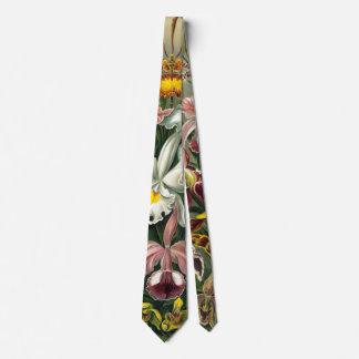 Ernst Haeckel Orchids, Vintage Rainforest Flowers Tie